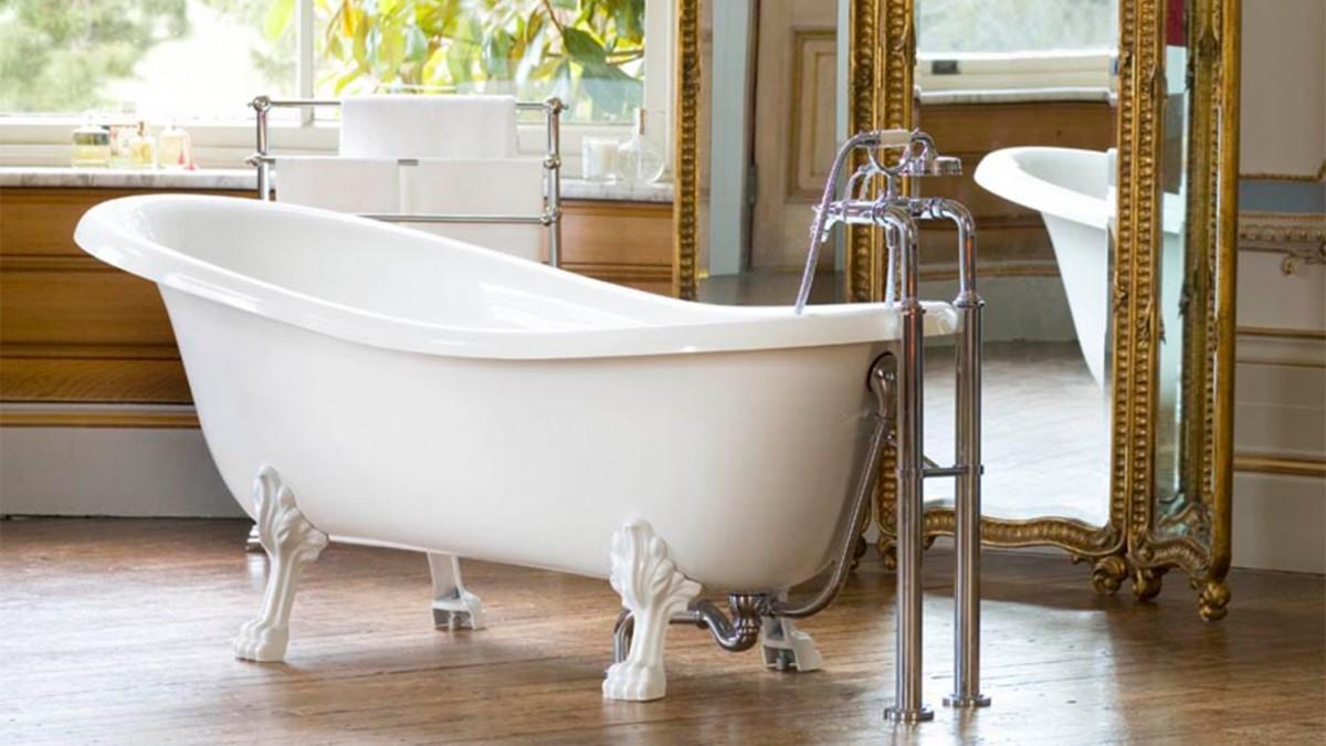 Victoria+Albert Ванна Roxburgh 170, белая, ножки металлические полированная латунь