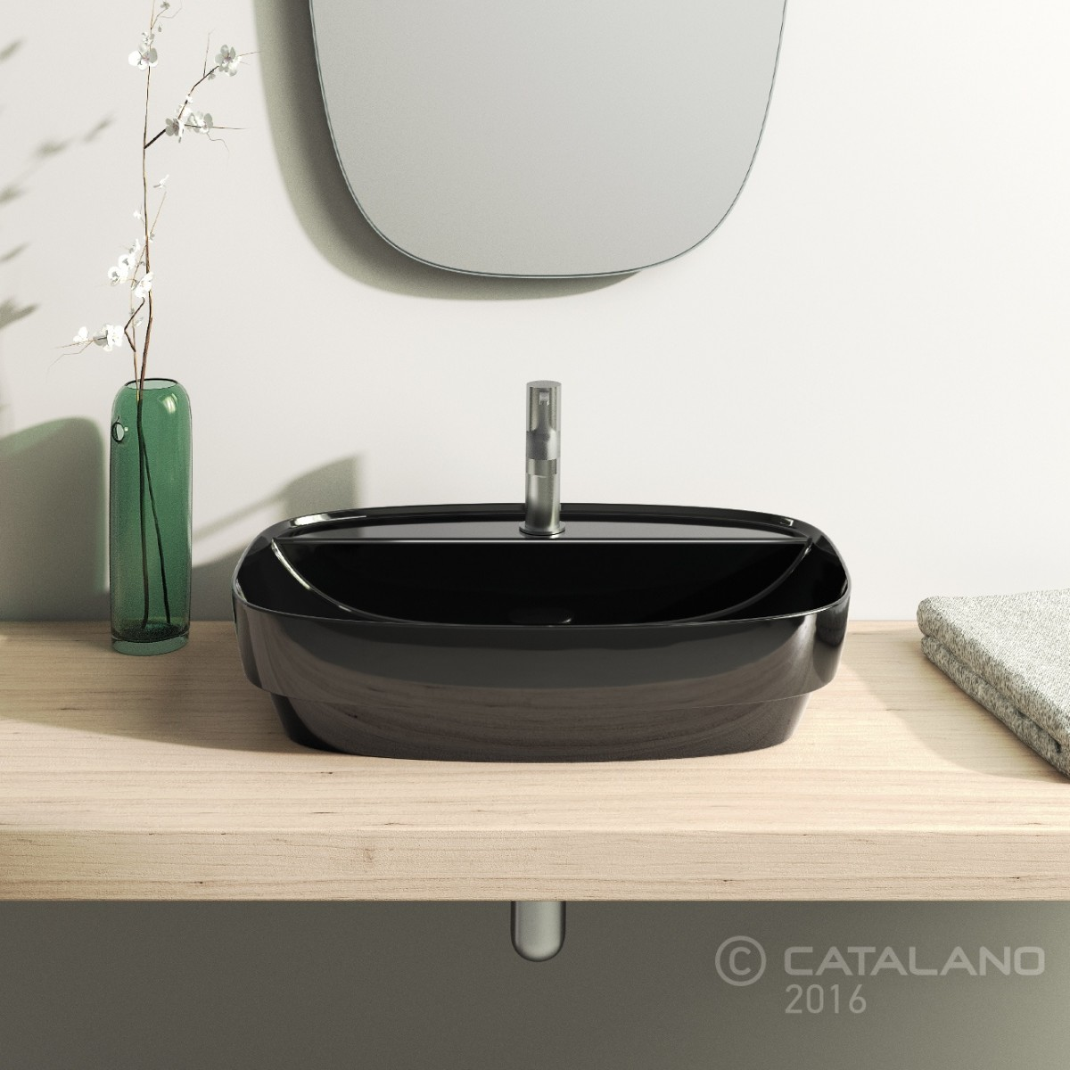 Catalano Colori Green Lux Раковина накладная 60*40, черная