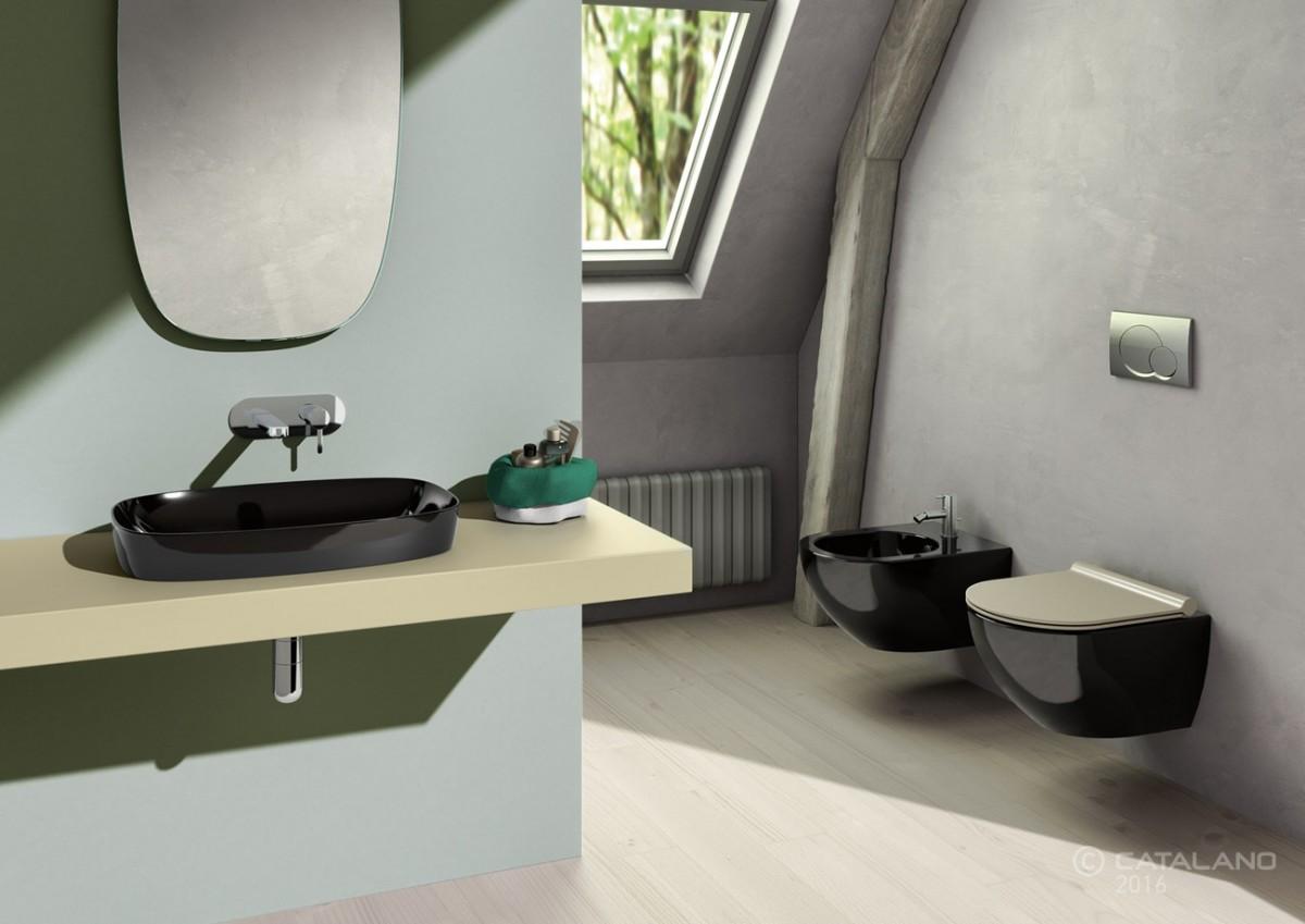 Catalano Colori Green Lux Раковина накладная 75*40, черная