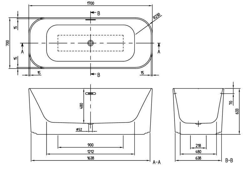 Villeroy & Boch  Finion Ванная 170х70  отдельностоящая, белая
