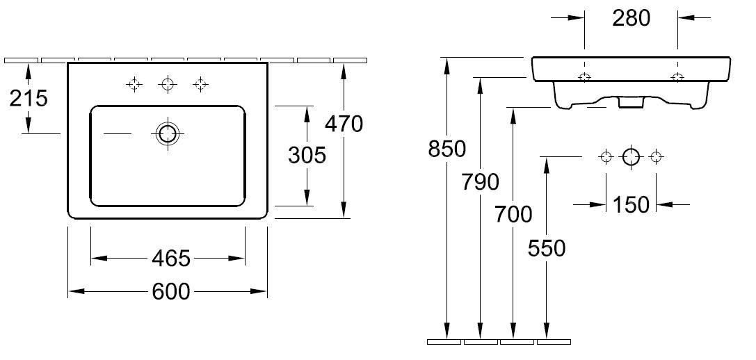 Villeroy & Boch Subway 2.0 Раковина накладная 60х47
