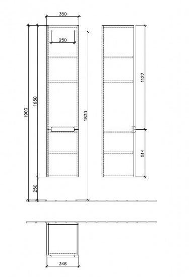 Villeroy & Boch Subway 2.0 Шкаф пенал 35x165x37