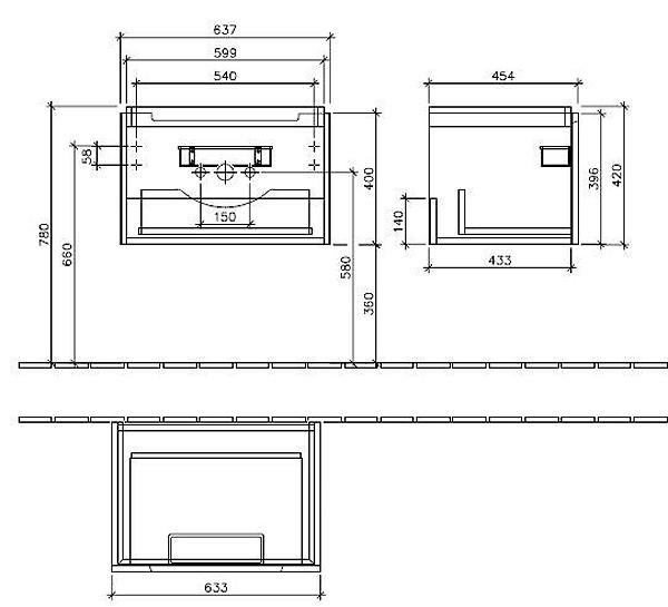Villeroy & Boch Subway 2.0 Тумба под раковину подвесная 63.7х42х45.4