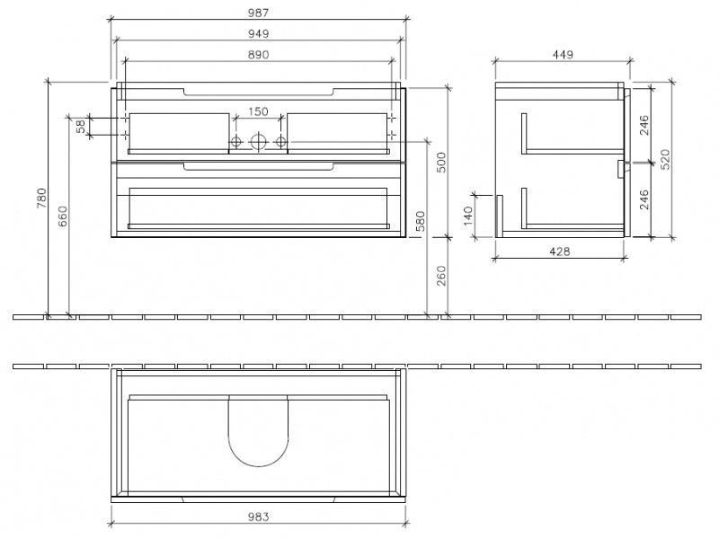 Villeroy & Boch Subway 2.0 Тумба под раковину подвесная 98.7x42x44.9