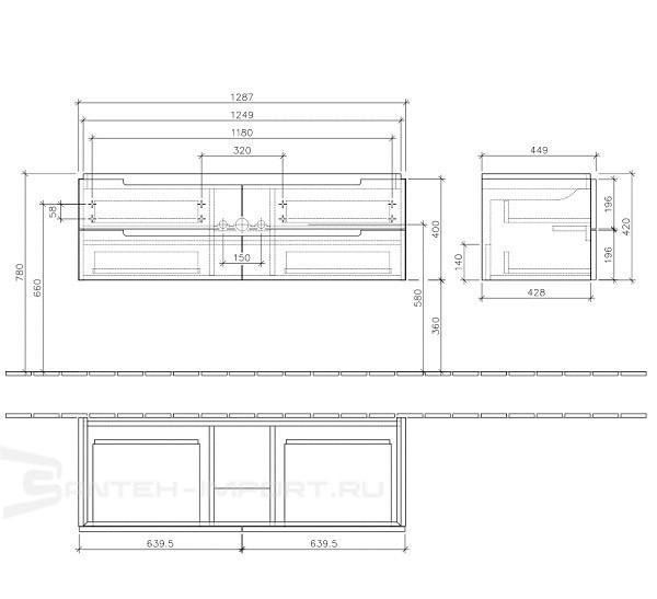 Villeroy & Boch Subway 2.0 Тумба под раковину подвесная 128.7x42x44.9