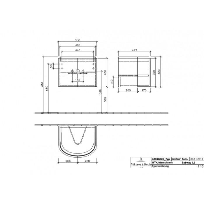 Villeroy & Boch Subway 2.0 Тумба под раковину подвесная 53.6x42x44.7