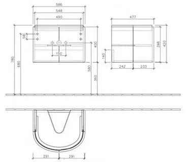 Villeroy & Boch Subway 2.0 Тумба под раковину подвесная 58.8x41.6x47.8