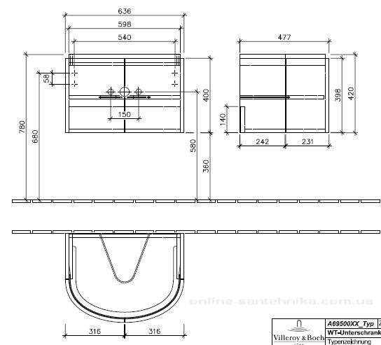 Villeroy & Boch Subway 2.0 Тумба под раковину подвесная 63.6x42x47.8