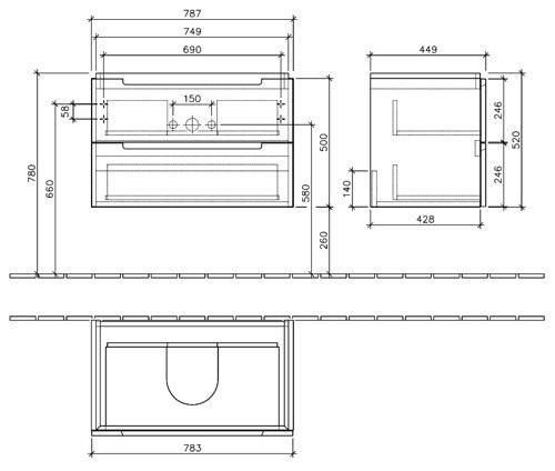 Villeroy & Boch Subway 2.0 Тумба под раковину подвесная 78.7x52x44.9